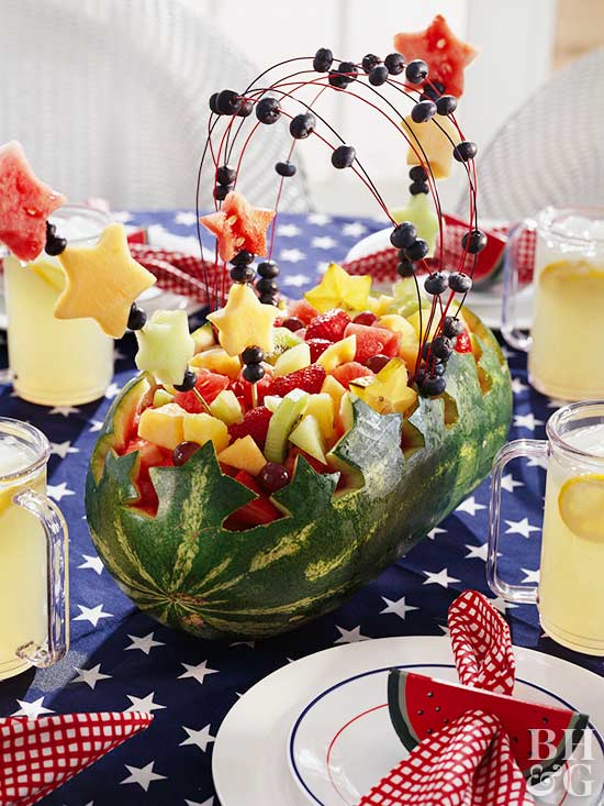 watermelon centerpiece, watermelon, fruit, 4th of July table setting