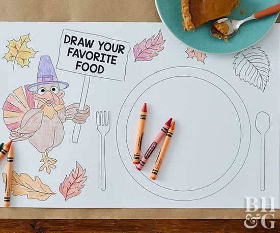 DIY Thanksgiving Table Coloring Placemat