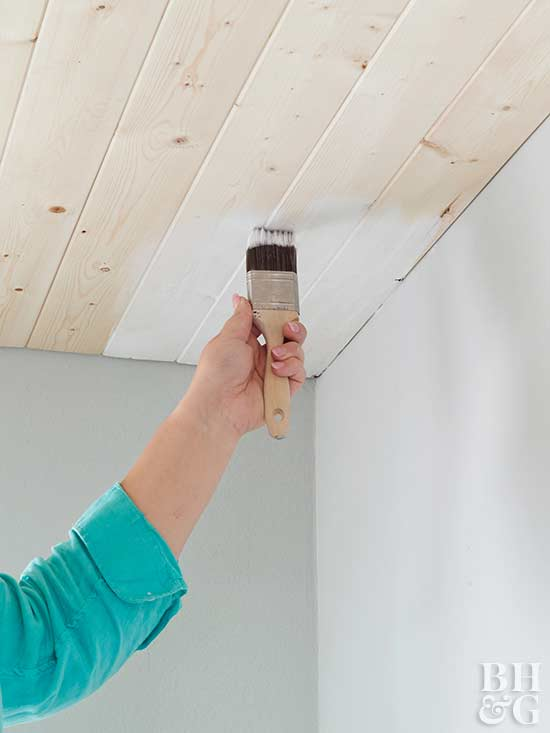 painting ceiling planks