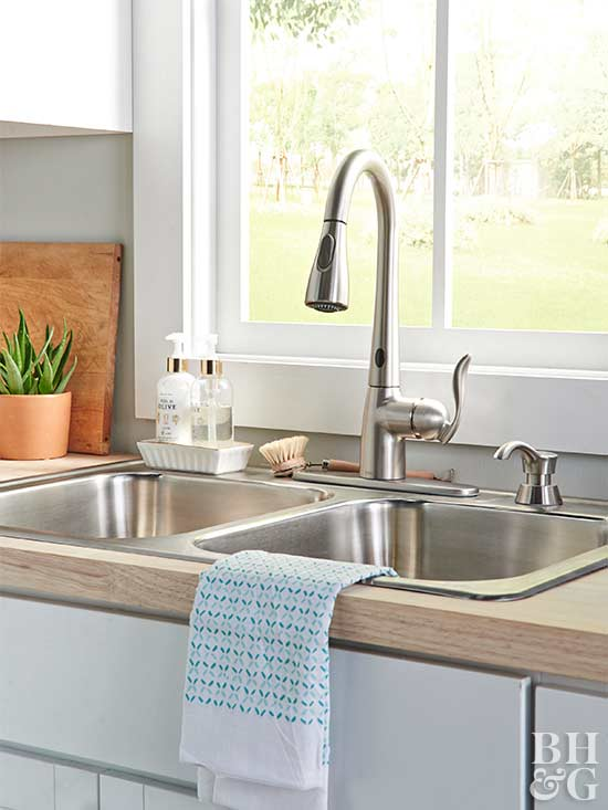 hands-free kitchen faucet and sink