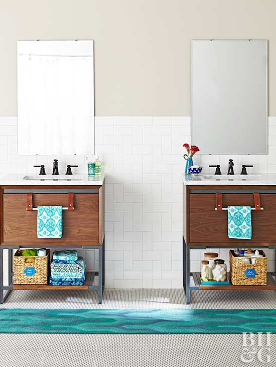 Bathroom Vanities, Teal Rug, Subway Tile