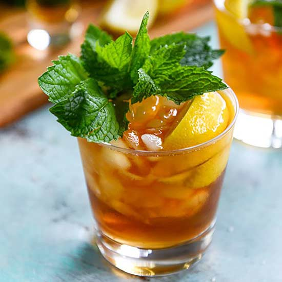 Bourbon Mint Iced Tea, ice tea, bourbon, mint