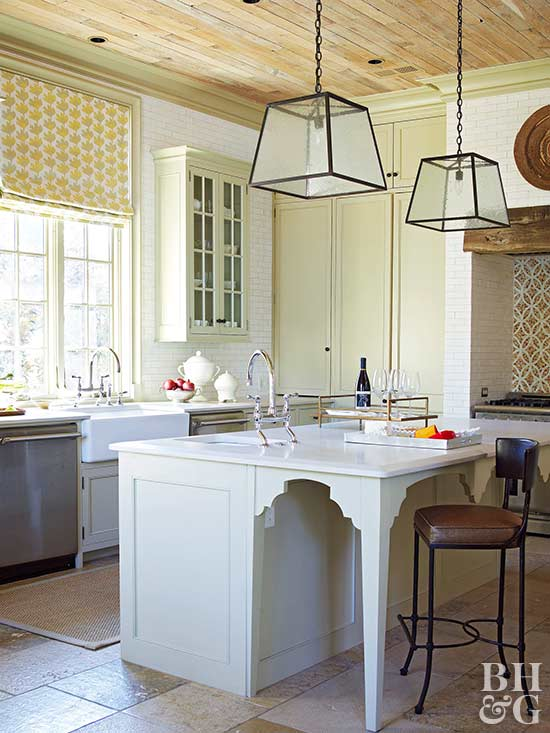 kitchen island, farm sink, pendant lights