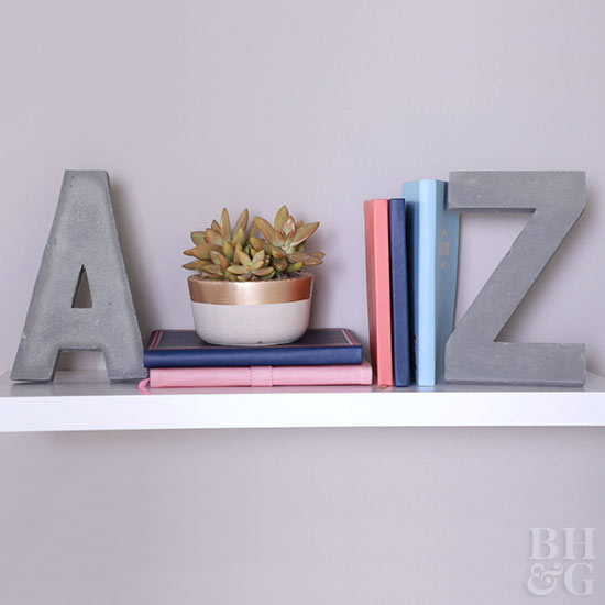 Concrete Monogram Bookends