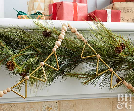 fireplace mantle with diy holiday garland