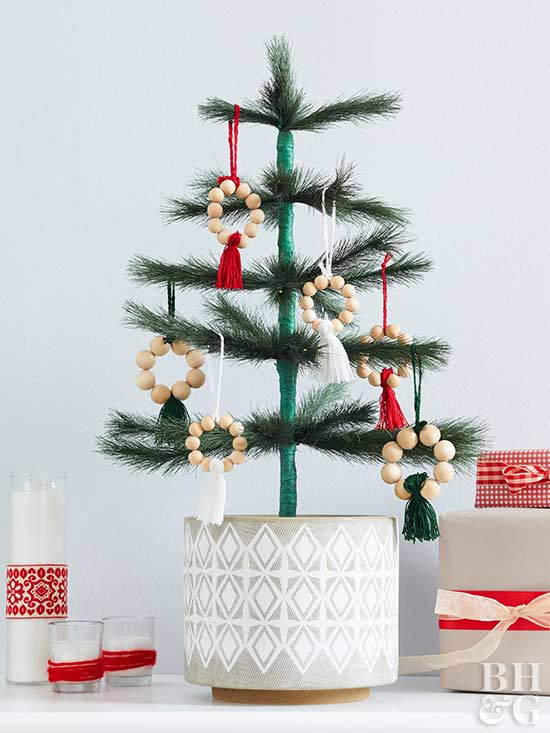 minimal tree display with beaded ornaments