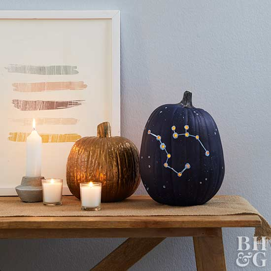 blue constellation and copper painted pumpkins, holidays, how-to, project, diy, craft