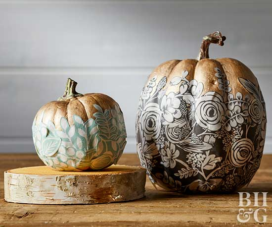 metallic pumpkins, pumpkins, fall