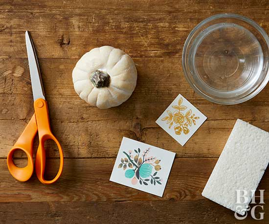 temporary tattoo-decorated pumpkin supplies