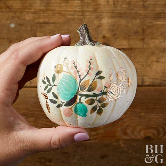 finished temporary tattoo-decorated pumpkin