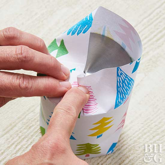 gift wrap DIY, wrapping a gift, tree paper