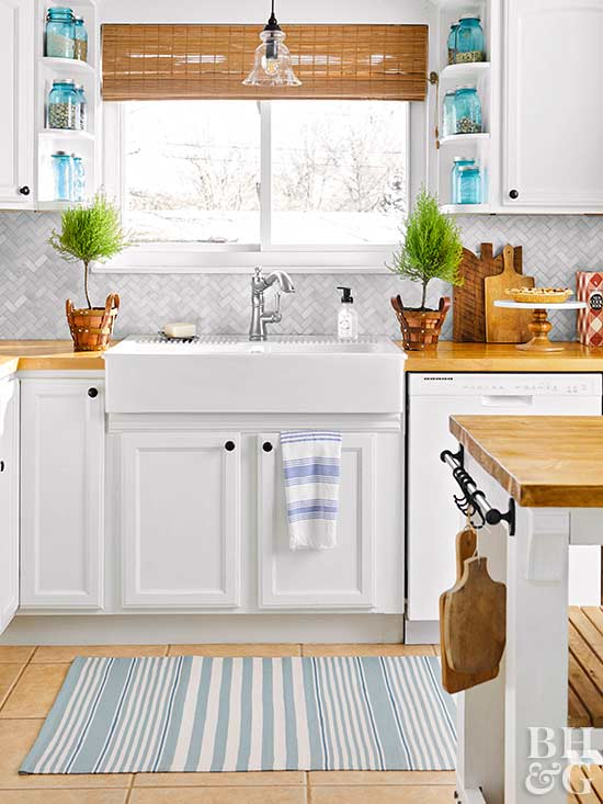 bright kitchen with farmhouse sink