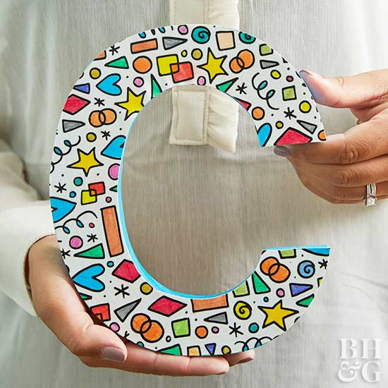 DIY, wooden letter, coloring page