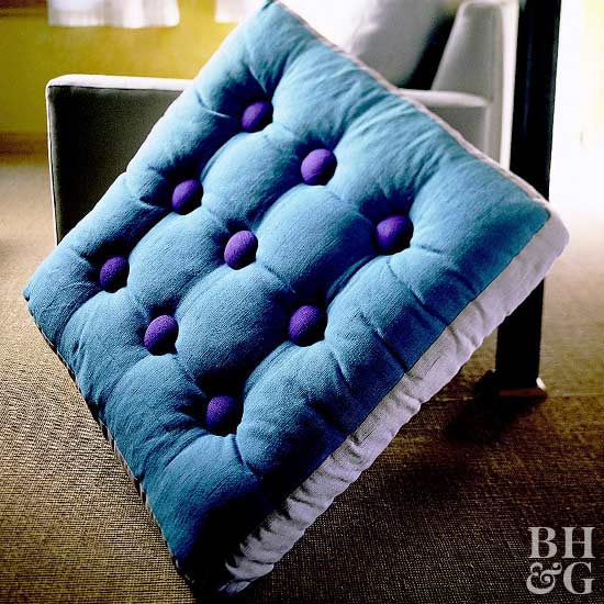 Blue and Purple Floor Cushion