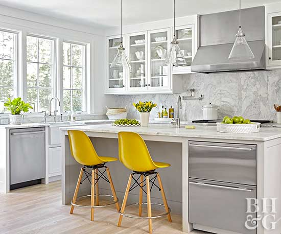modern white kitchen with yellow accent