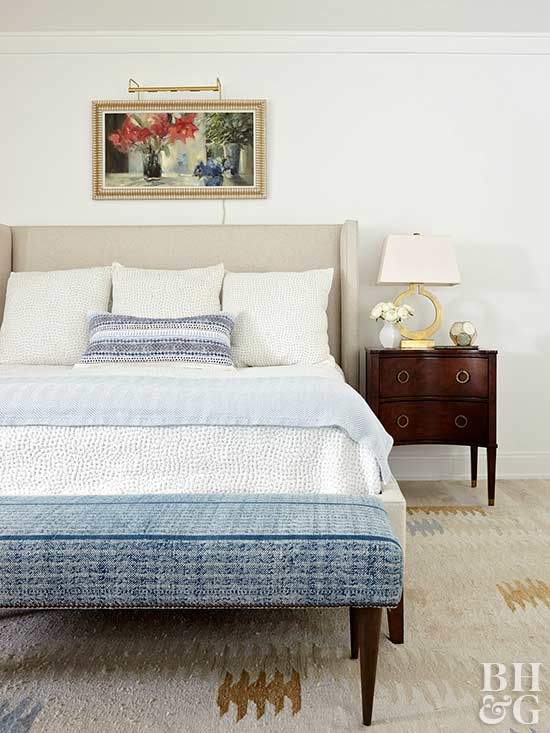 master bedroom with neutrals and blues