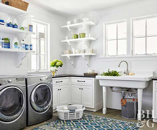 laundry room with open shelving