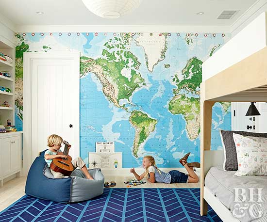 playful kids' bedroom with map wallpaper