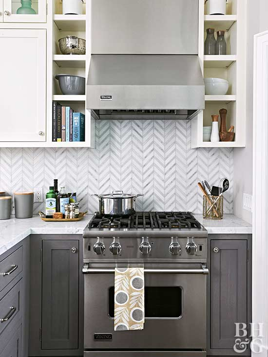 gray and white cabinets, kitchen, tile, herringbone pattern