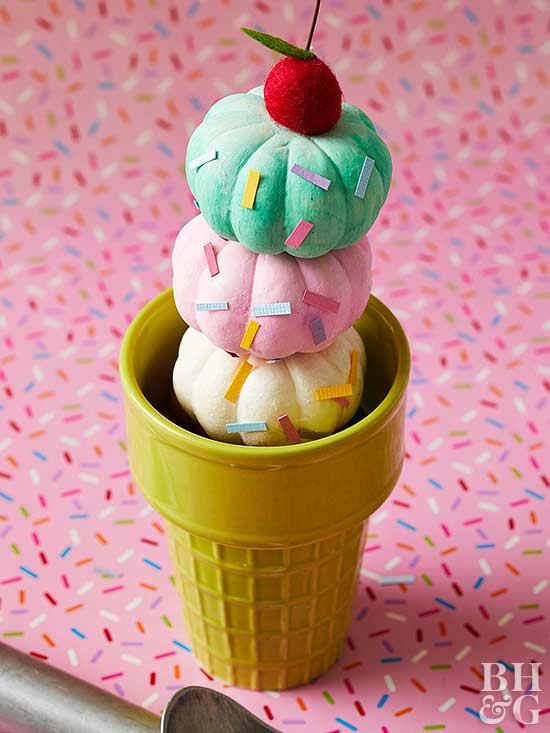 painted pumpkins ice cream decoration
