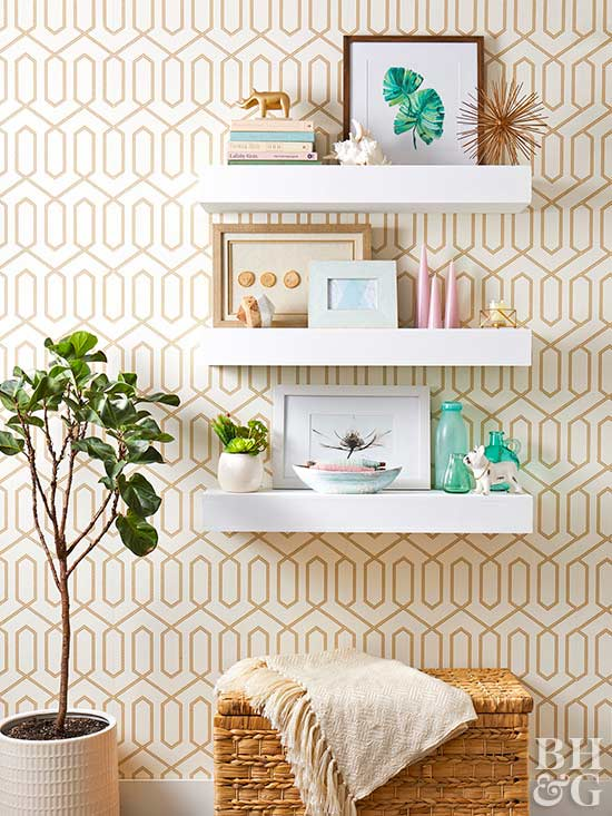 wallpaper pattern and shelves