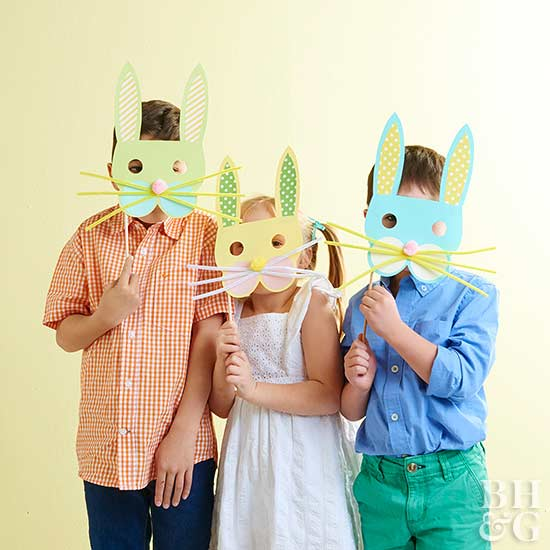 kids with bunny masks