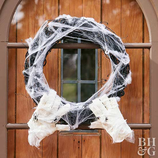 mummy wreath on front door