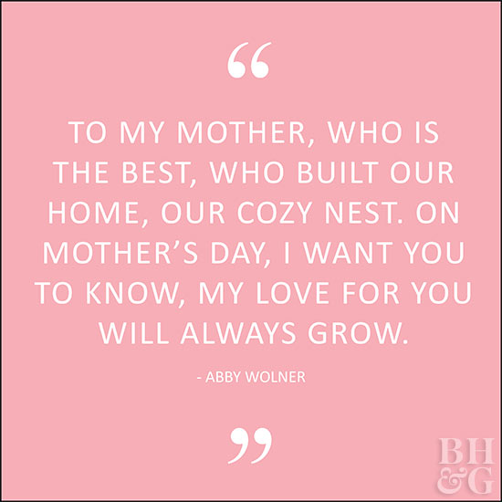 To my mother, who is the best, who built our home, our cozy nest. On Mother's Day, I want you to know, my love for you will always grow. Abby Wolner