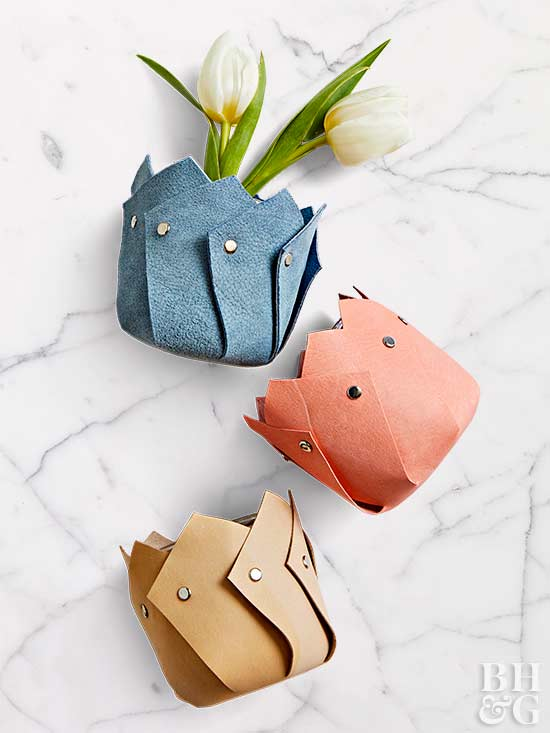 colorful diy leather vases