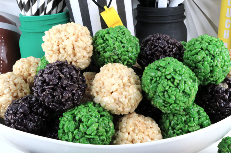 bowl of colored rice cereal balls in Eagles colors
