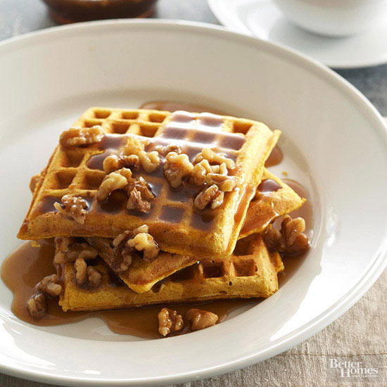 Pumpkin Waffles with Maple Walnut Cream