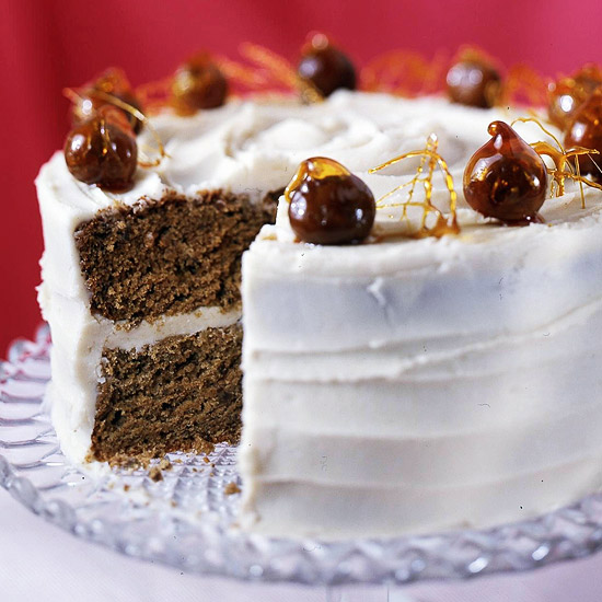 Spiced Chestnut Cake with Maple-Mascarpone Frosting