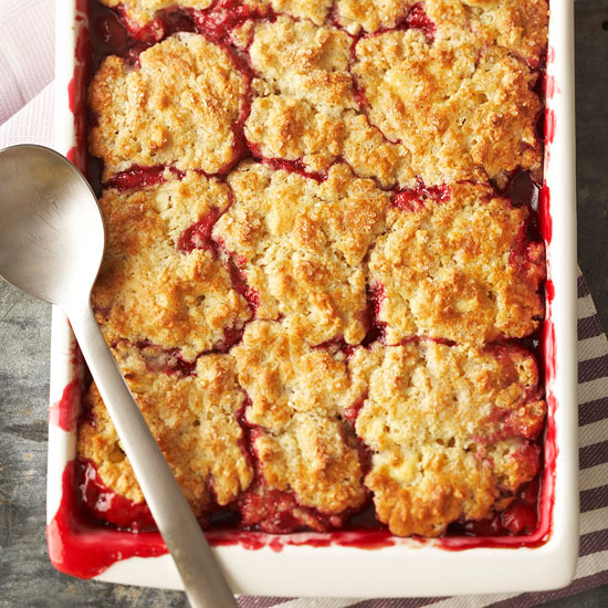 Cherry Cobbler with White Chocolate-Almond Biscuits