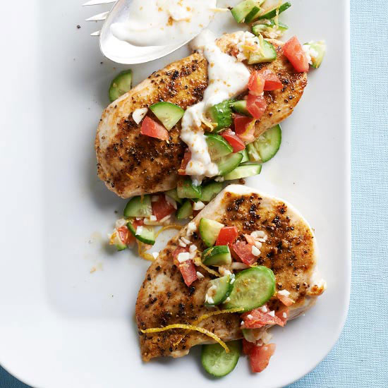 Grilled Chicken with Lemon-Cucumber Relish