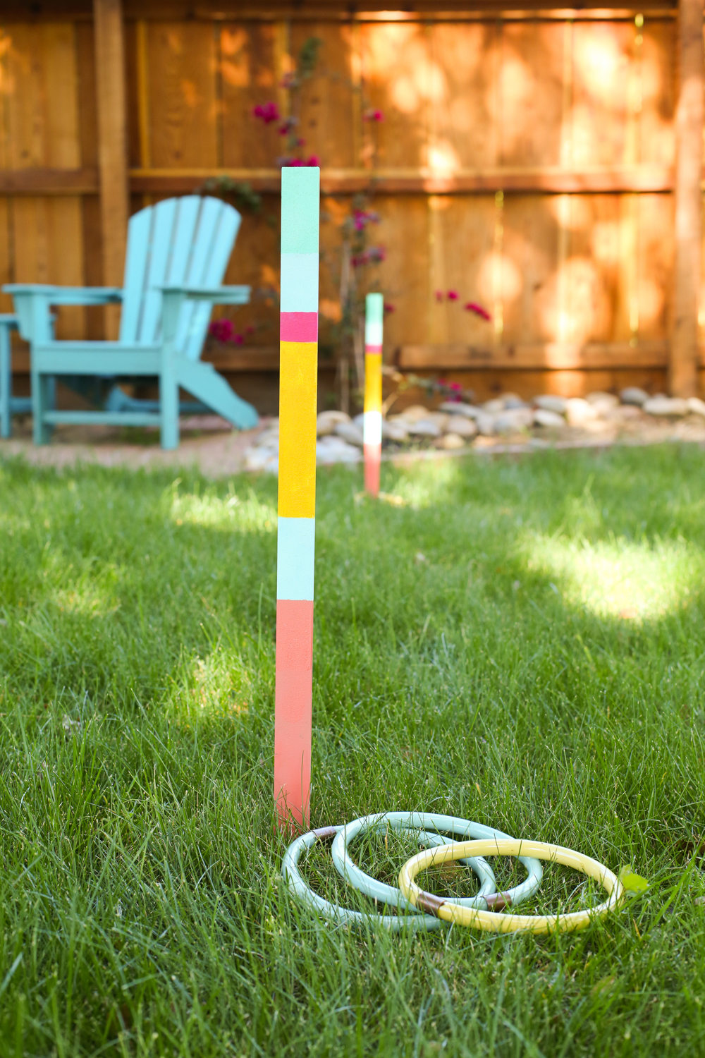 Painted ring toss yard game on lawn