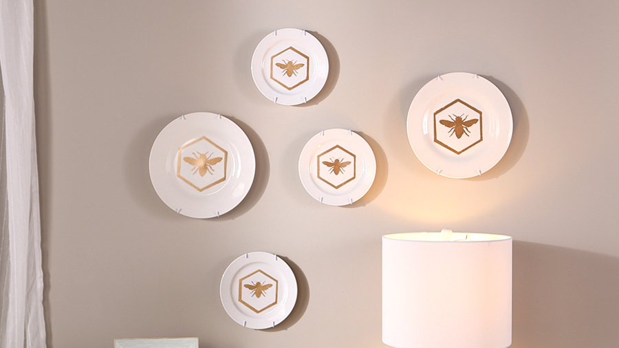 Buzzy Stenciled Plate Display