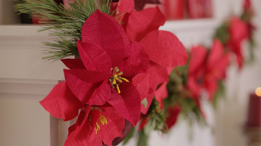 How To Make a Paper Poinesttia Garland
