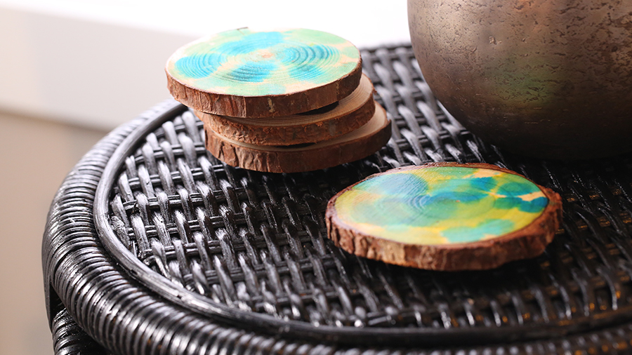 Wood-Slice Watercolor Coasters