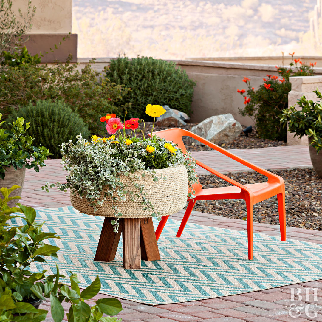 diy sisal planter on patio
